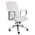 Emory White Faux Leather + Polished Aluminum Modern Office Chair