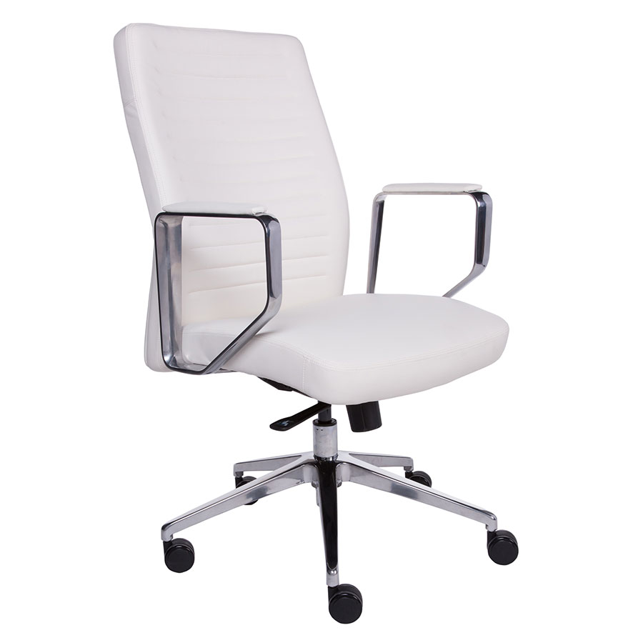 Edna White Faux Leather + Polished Aluminum Modern Office Chair