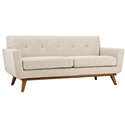 Empire Beige Fabric Modern Tufted Loveseat