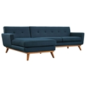 Empire Modern Azure Fabric Tufted Sofa with Left Chaise