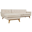 Empire Modern Beige Fabric Tufted Sofa with Left Chaise