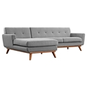 Empire Modern Medium Gray Fabric Tufted Sofa with Left Chaise