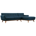 Empire Modern Azure Blue Fabric Tufted Sofa with Right Chaise