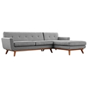 Empire Modern Medium Gray Fabric Tufted Sofa with Right Chaise