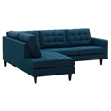 Enfield Modern Azure Blue 2 Pc Left Facing Sectional