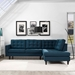 Enfield Contemporary Azure Blue 2 Pc Right Facing Sectional
