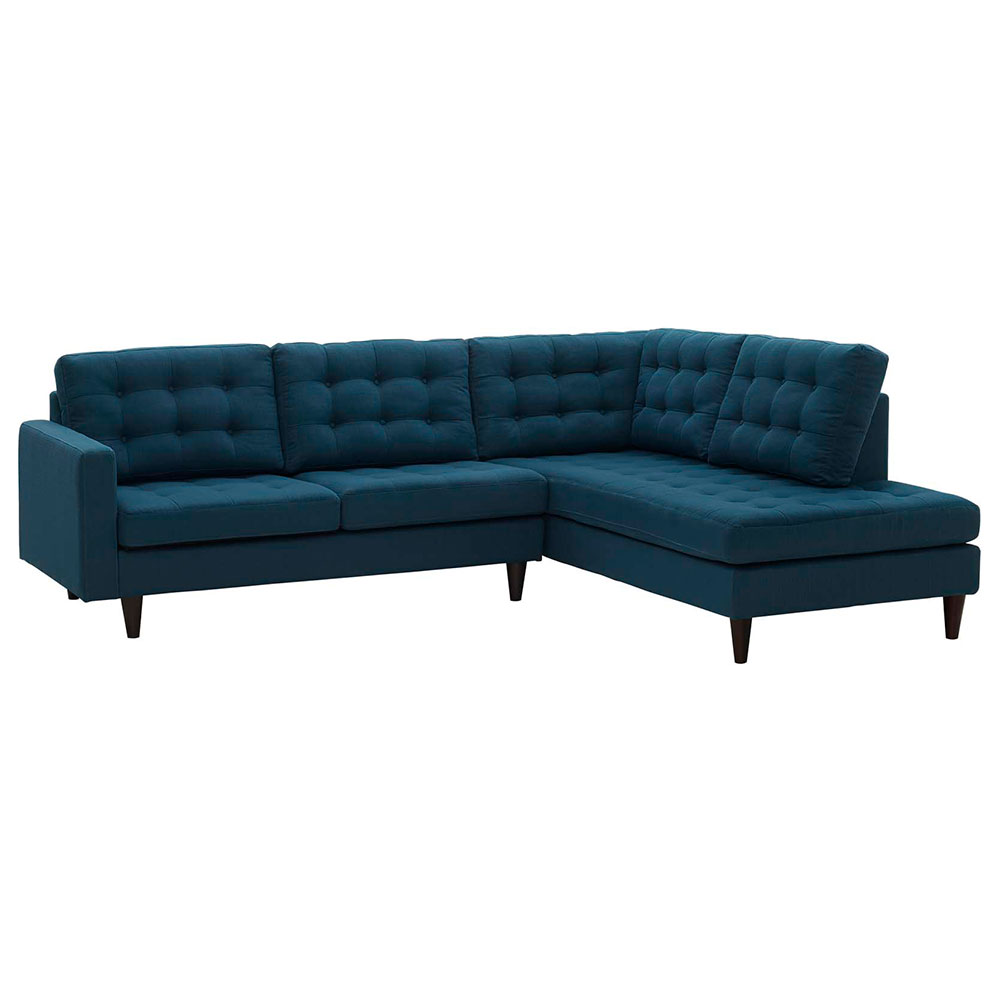 Enfield Modern Azure Blue 2 Pc Right Facing Sectional