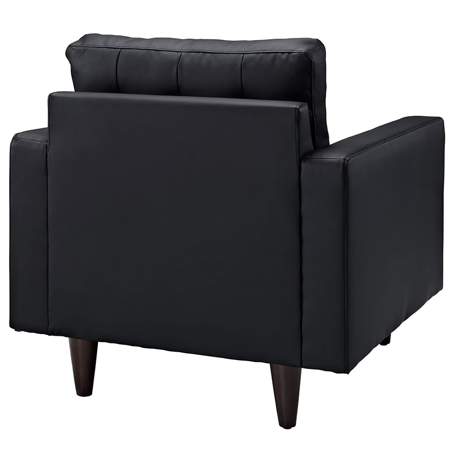 modern chairs  enfield black leather chair  eurway -  enfield black leather modern lounge chair  back view