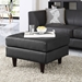 Enfield Black Leather Contemporary Ottoman