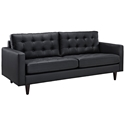 Enfield Modern Black Leather Sofa