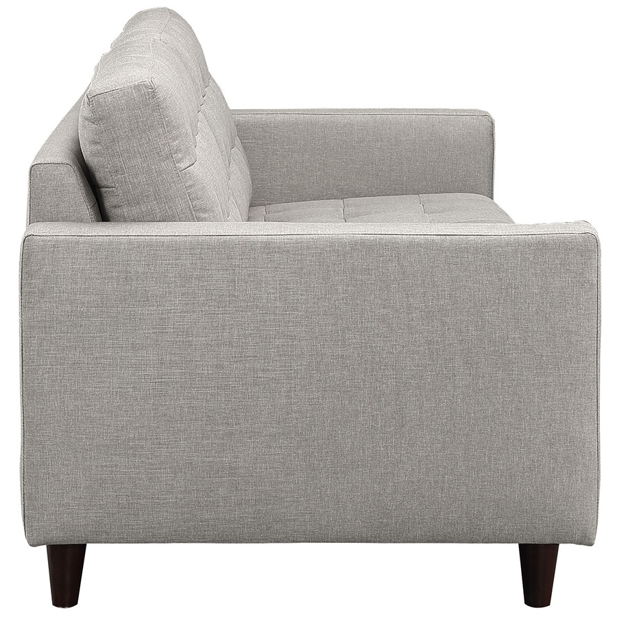 Enfield Modern Light Gray Sofa - Side View