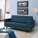 Enfield Contemporary Tufted Azure Fabric Loveseat