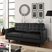 Enfield Contemporary Tufted Black Bonded Leather Loveseat