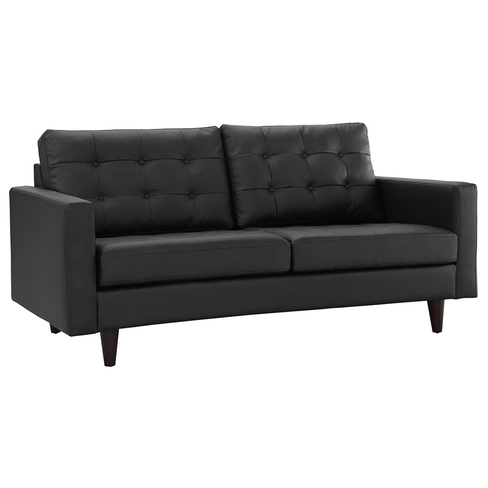 Enfield Modern Black Bonded Leather Loveseat