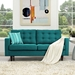 Enfield Contemporary Tufted Teal Fabric Loveseat