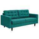 Enfield Modern Classic Teal Fabric Loveseat