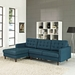 Enfield Contemporary Azure Blue Sofa w/ Left Facing Chaise