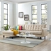 Enfield Modern Beige Tufted Sofa with Left Facing Chaise Lounge