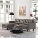 Enfield Contemporary Granite-Colored Sofa w/ Left Facing Chaise