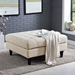 Enfield Contemporary Beige Fabric Square Ottoman