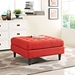 Enfield Contemporary Red Fabric Square Ottoman