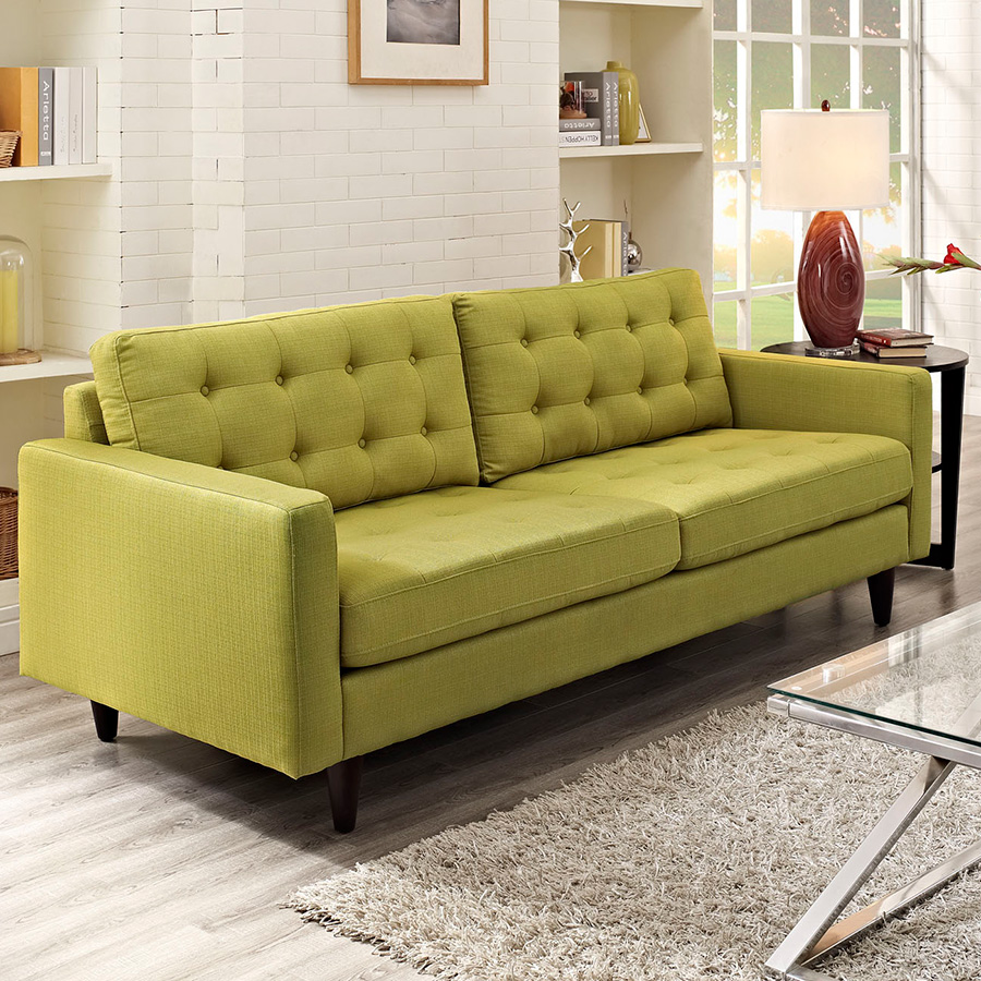 Enfield Modern White Leather Sofa: Enfield Wheatgrass Sofa