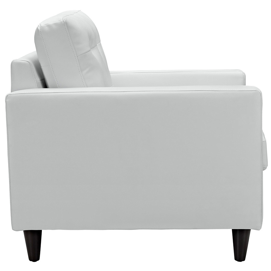 ... Enfield White Leather Modern Lounge Chair   Side View ...
