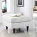 Enfield White Leather Contemporary Ottoman