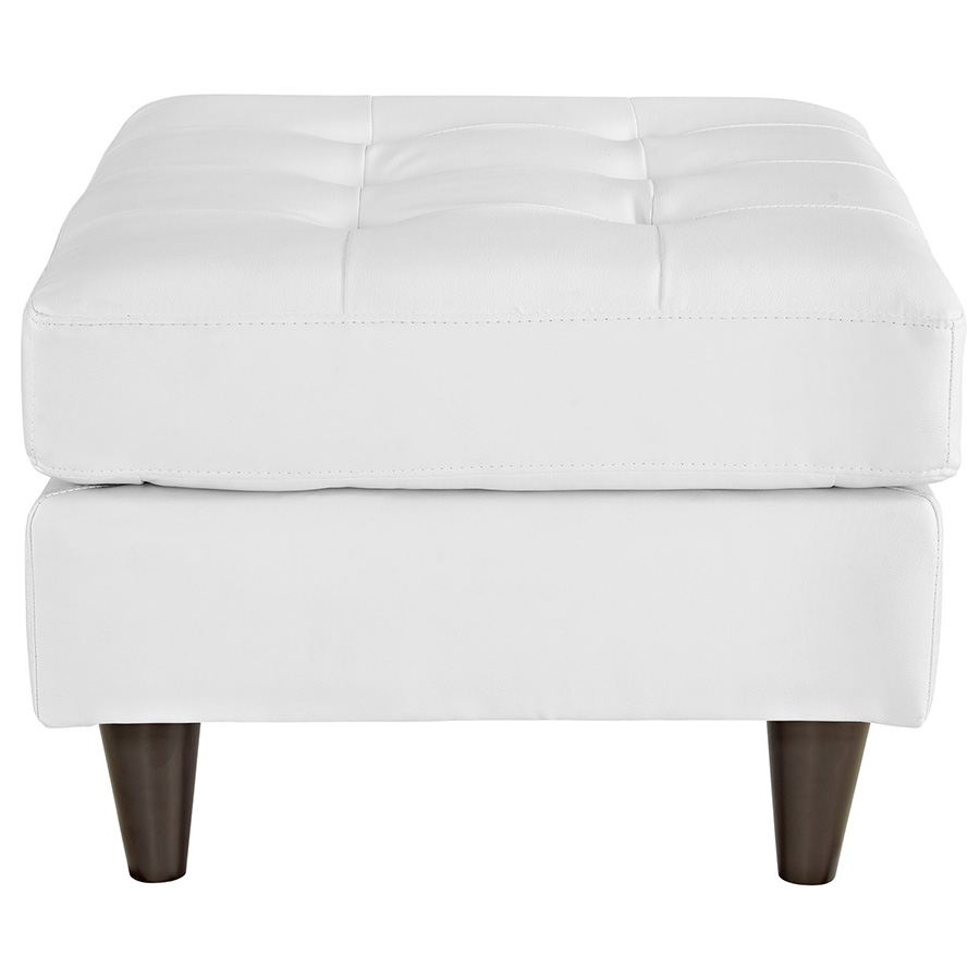 enfield modern white bonded leather ottoman  side view . enfield modern white leather ottoman  eurway modern