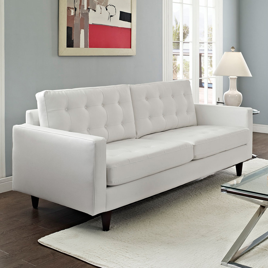 ... Enfield Contemporary White Leather Sofa