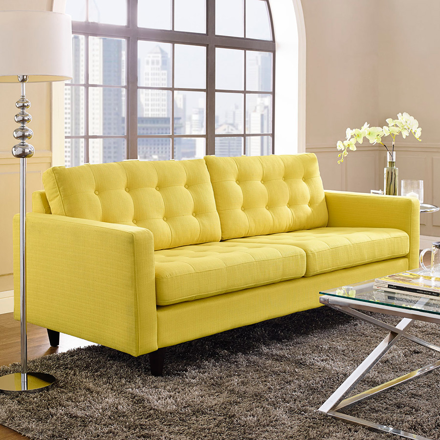 Lovely ... Enfield Contemporary Yellow Sofa