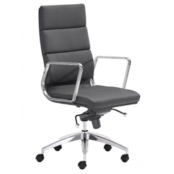 Engineer Modern Black High Back Office Chair by Zuo