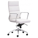 Engineer Modern White High Back Office Chair by Zuo