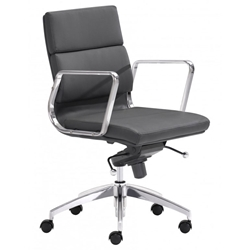 Engineer Modern Black Low Back Office Chair by Zuo