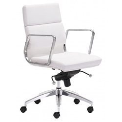 Engineer Modern White Low Back Office Chair by Zuo