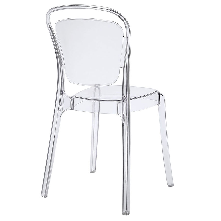 modern dining chairs  entice clear side chair  eurway -  entice modern clear dining chair  back view