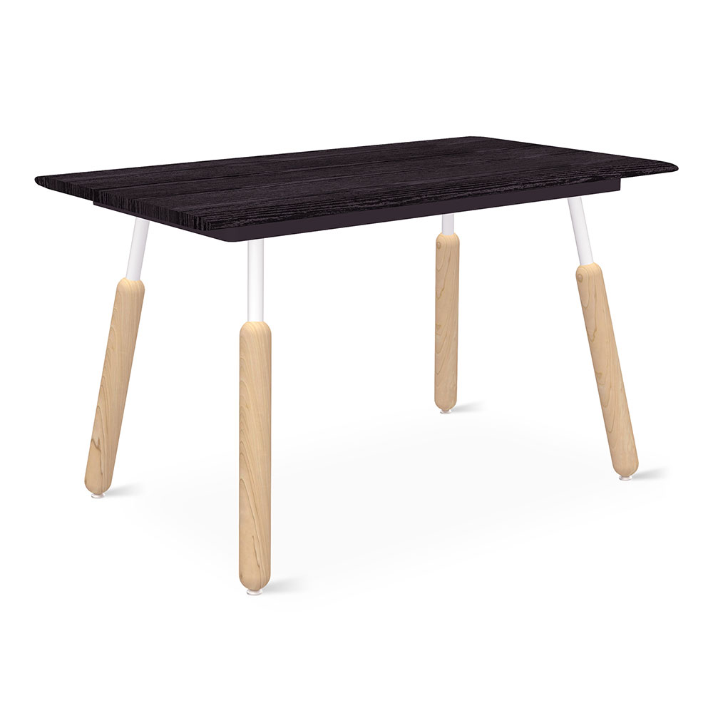 "Gus* Modern Envoy 50"" Black Ash + Blonde Ash and Black Steel Dowel Legs Contemporary Desk"