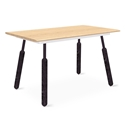 "Gus* Modern Envoy 50"" Blonde Ash + Black Ash and Black Steel Dowel Legs Contemporary Desk"