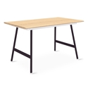 "Gus* Modern Envoy 50"" Blonde Ash + Black Steel Lecture Legs Contemporary Desk"