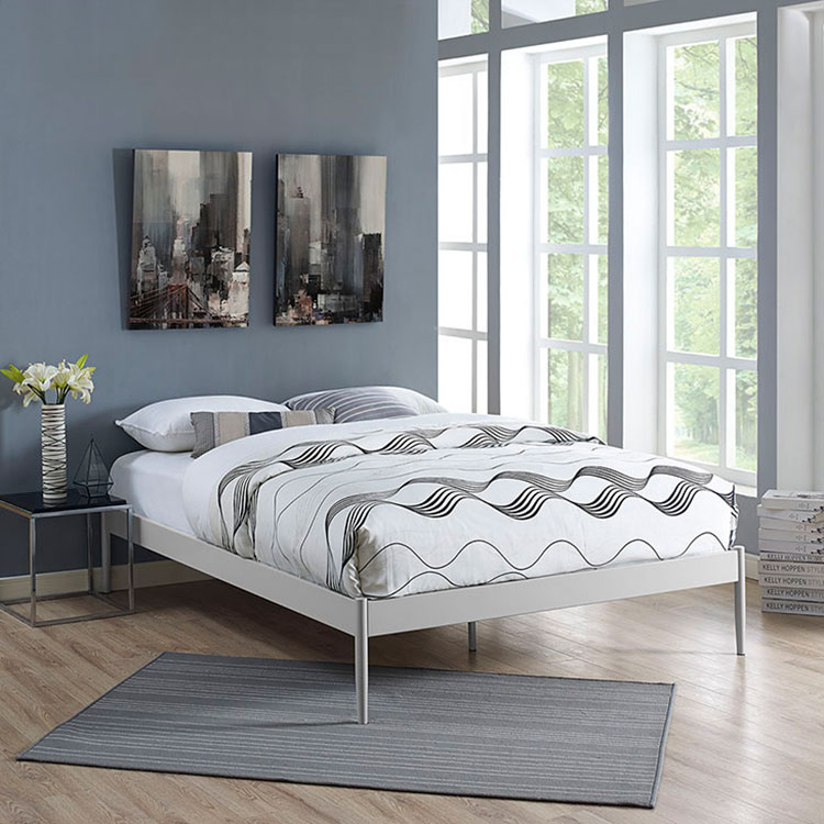 eric gray metal upholstered modern platform bed frame