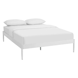 Eric Modern Metal Platform Bed Frame in White
