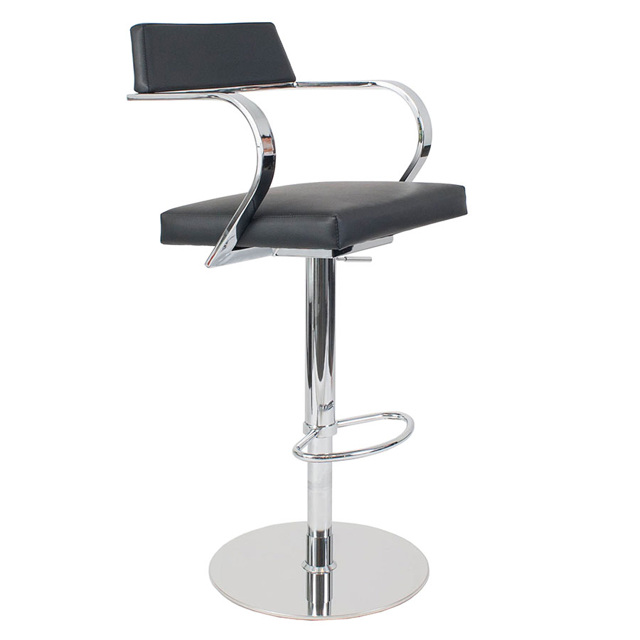 Erna Black Adjustable Modern Stool