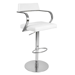 Erna White Adjustable Modern Stool