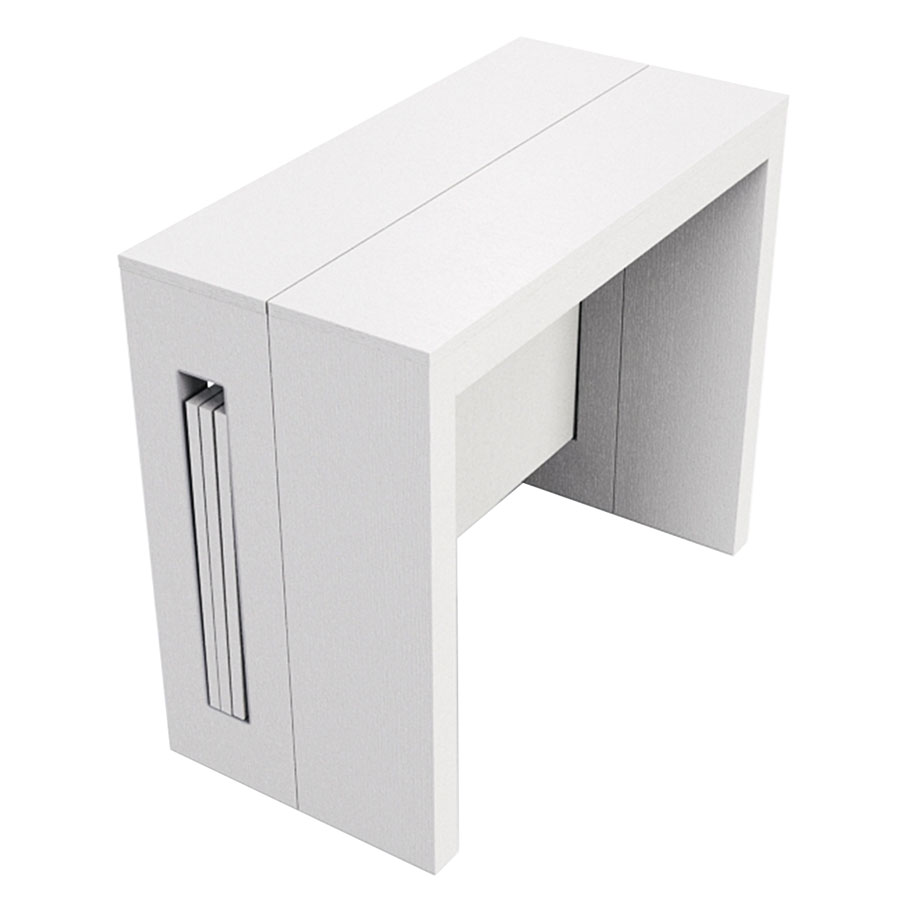 modern white console table. Errai Extendable / Convertible White Modern Console + Dining Table E