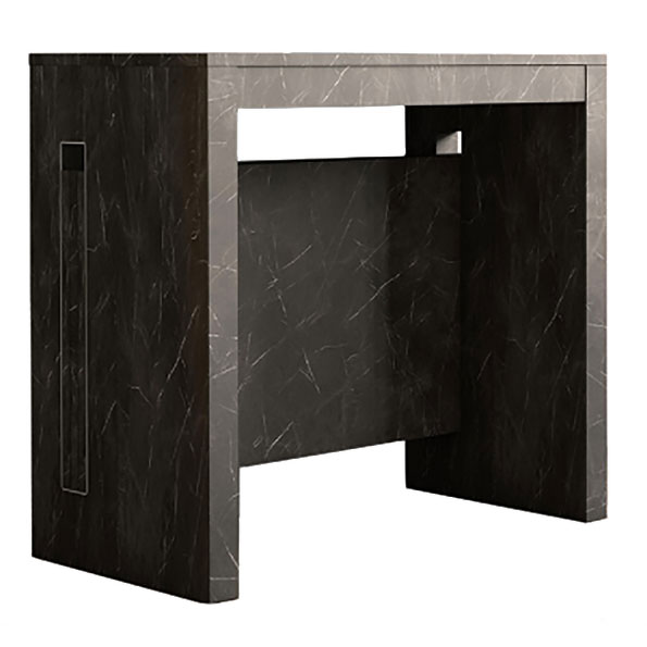 Errai Black Faux Marble Melamine Laminate Modern Console + Dining Table