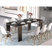 Errai Black Faux Marble Melamine Laminate Modern Dining Table - Extended