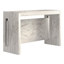 Errai White Faux Marble Melamine Laminate Modern Console + Dining Table