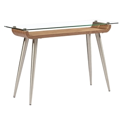 Esquire Brushed Stainless Steel + Walnut Wood + Clear Tempered Glass Modern Console Table
