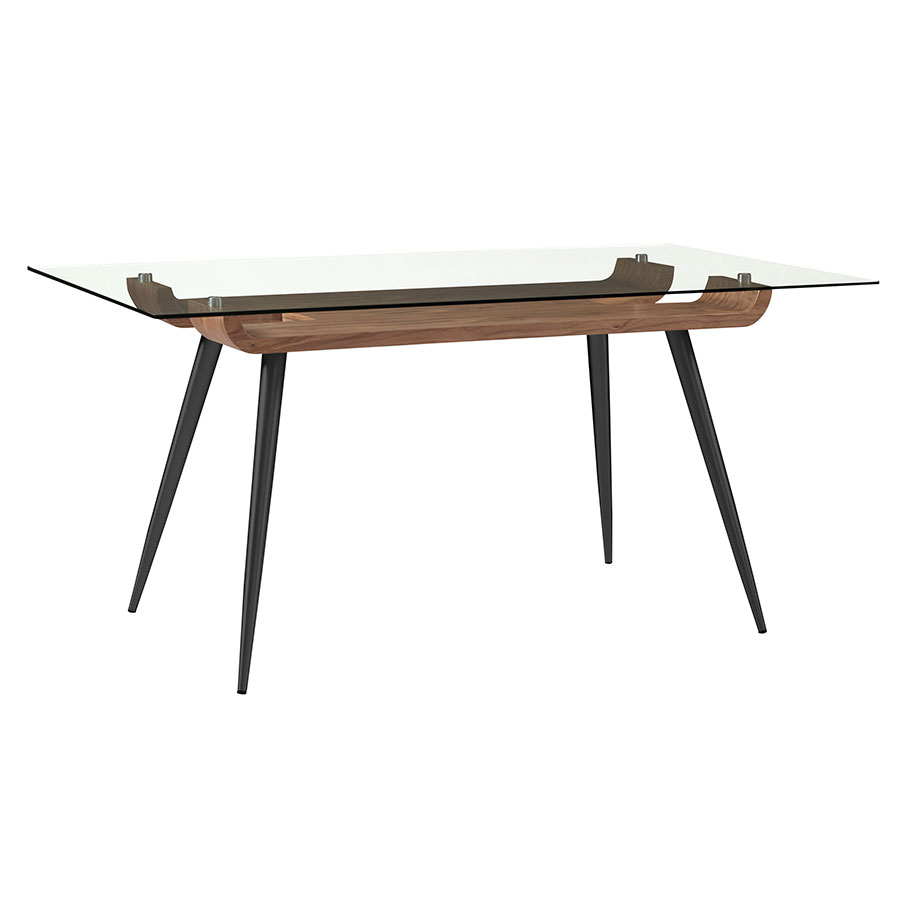 Esquire Black Steel + Walnut Wood + Clear Tempered Glass Modern Dining Table