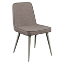 Esmoriz Dark Gray Padded Fabric + Brushed Steel Modern Dining Side Chair